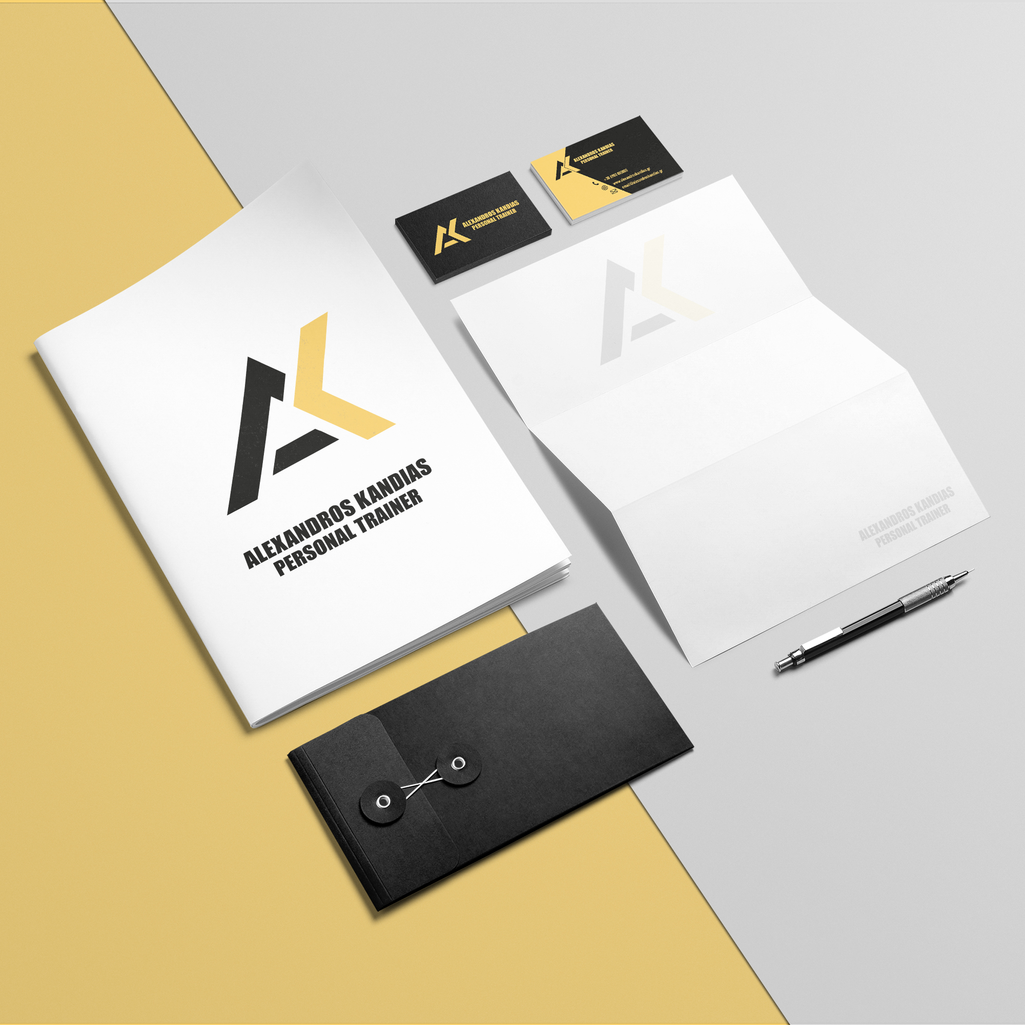 Alexandros Kandias' branding in A4 sheets and business cards