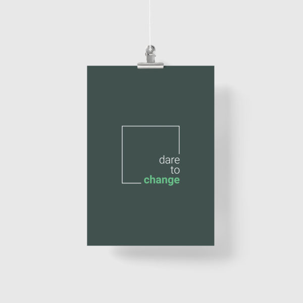 Dare to Change logo hanging on a banner