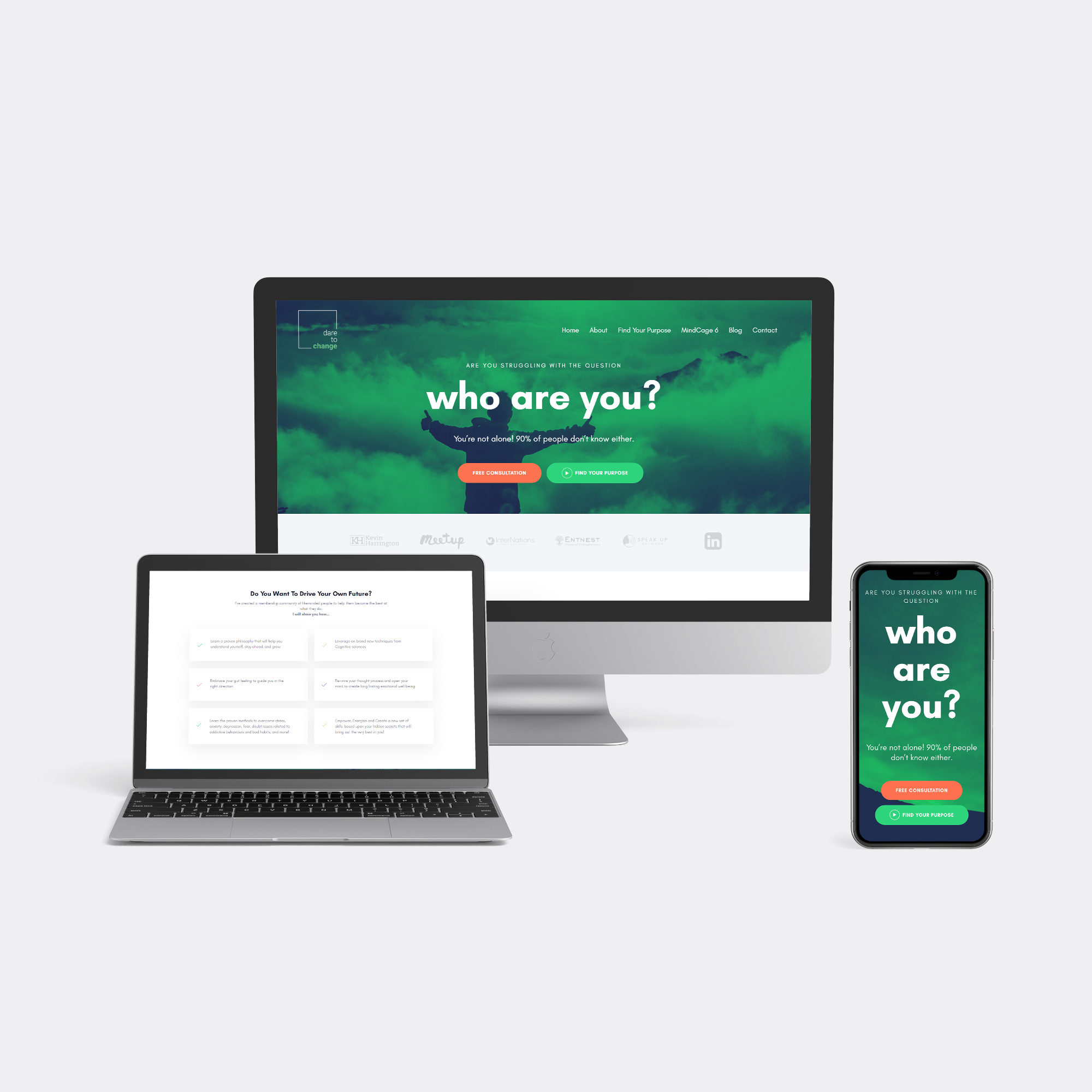 A set of iMac, Macbook, and iPhone showing Dare to Change website