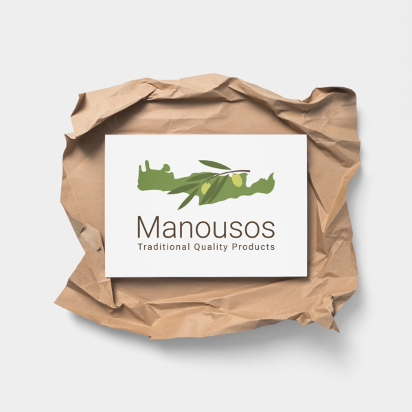 Manousos logo above a creased brown paper
