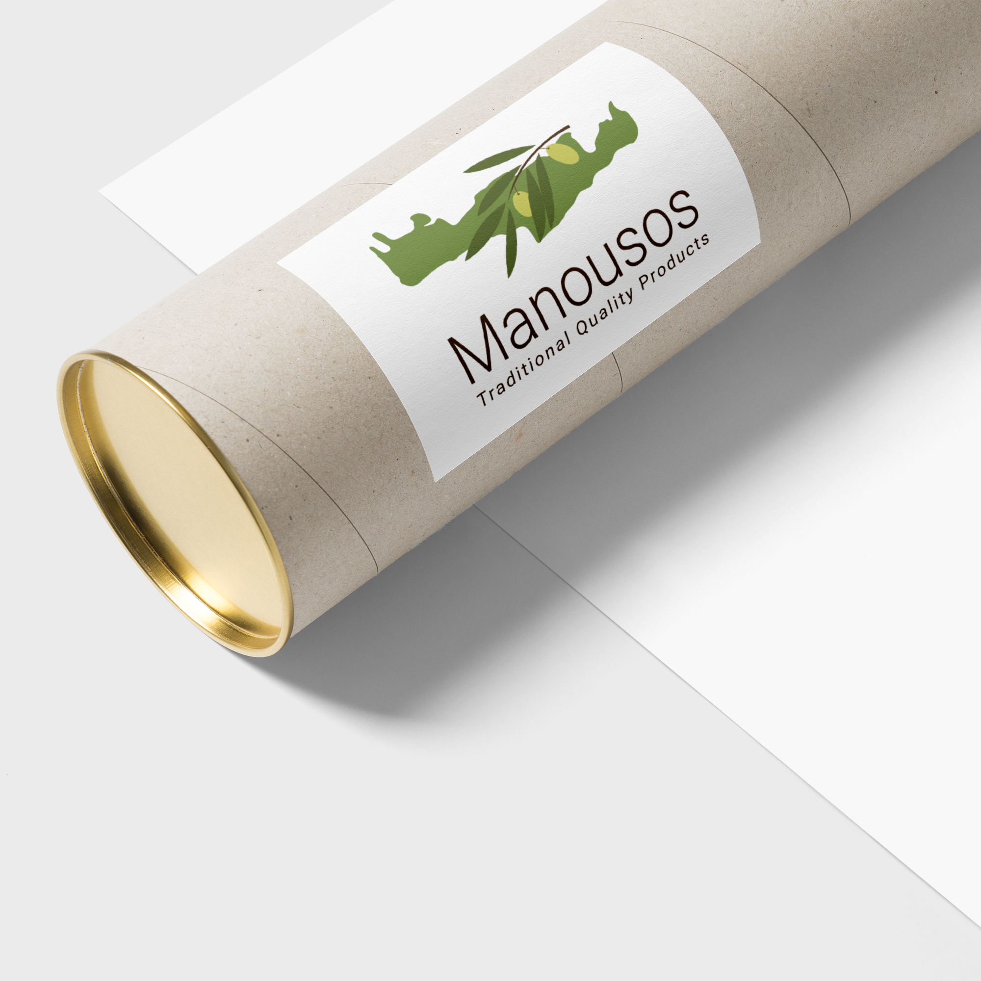 Manousos logo on a cylindrical case