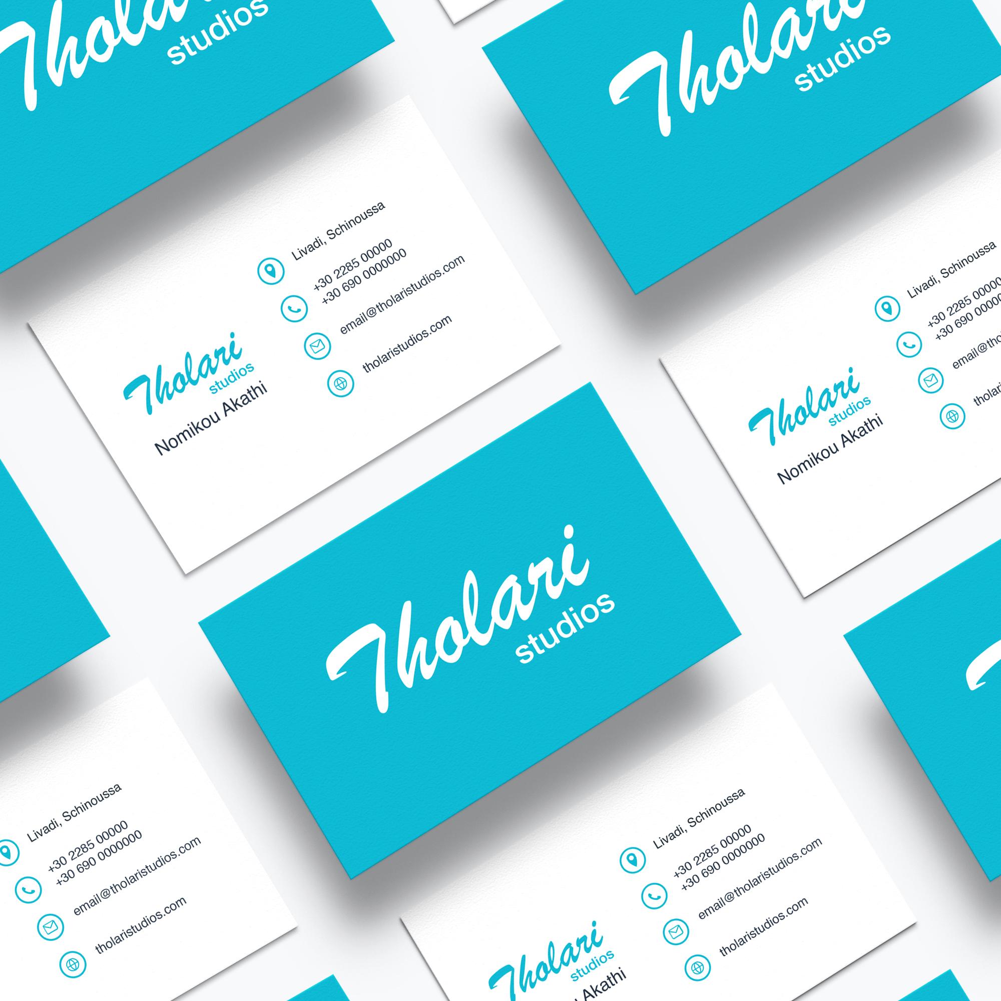Tholari Studios' business card design, both sides