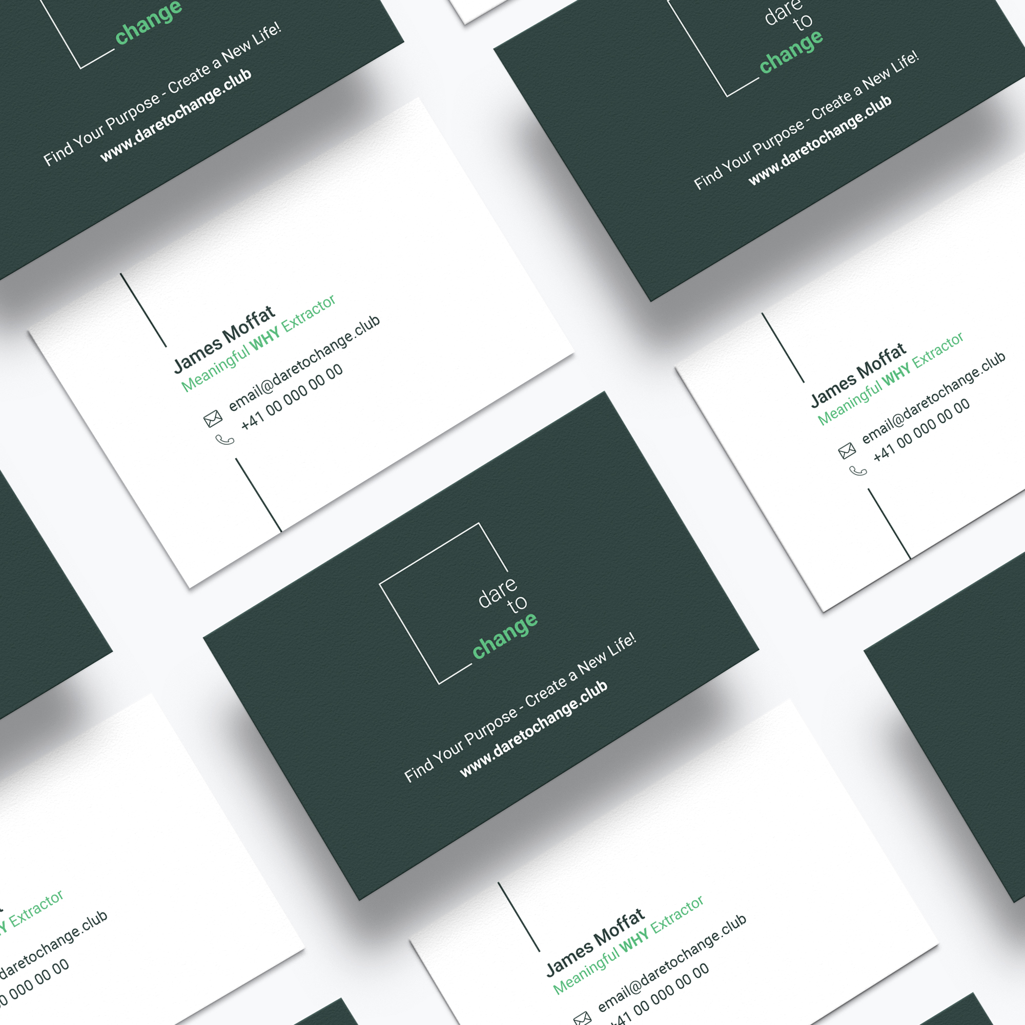 Dare to Change's business card design, both sides