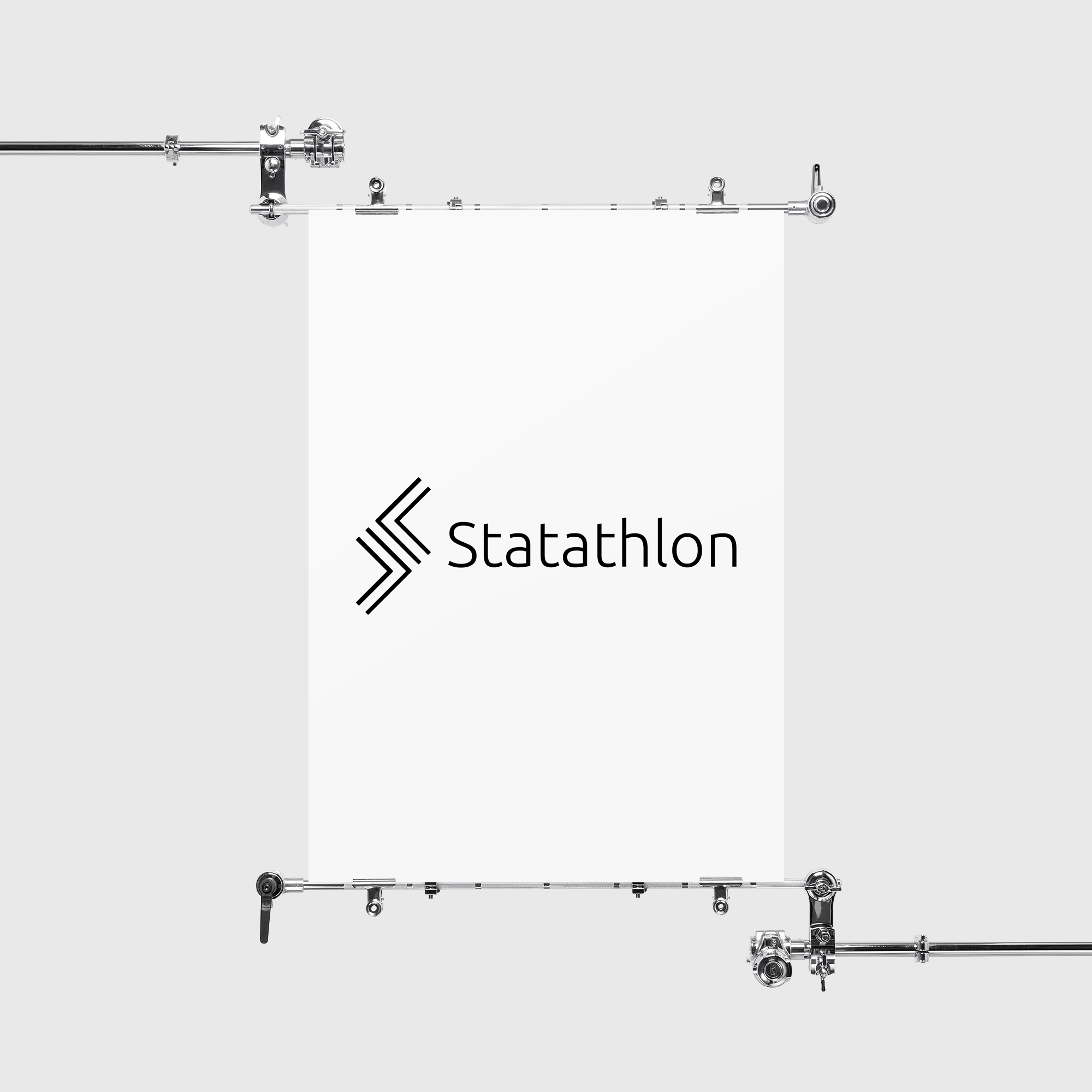 Statathlon logo hanging on a banner
