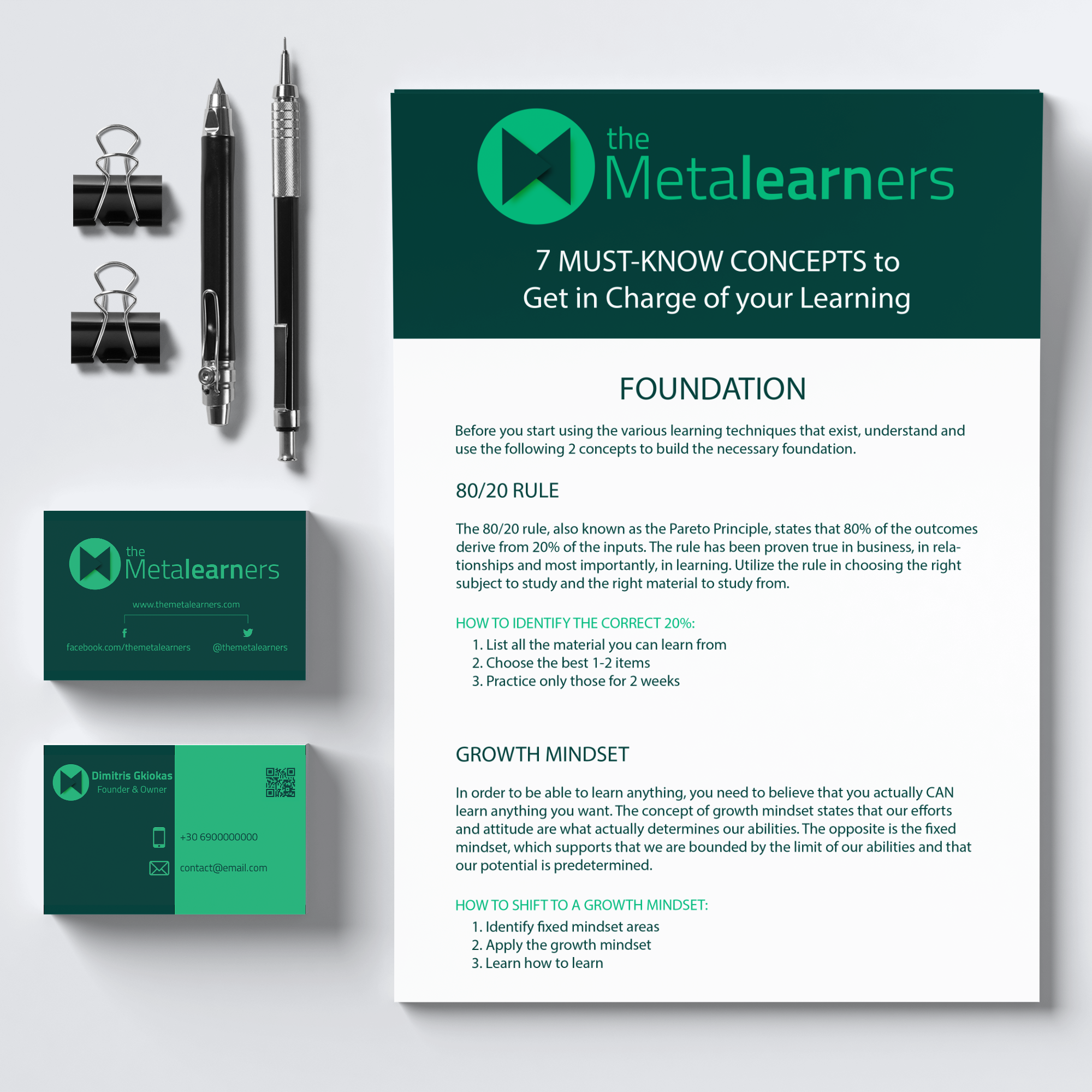 The Metalearners branding on an A4 cheatsheet and business cards